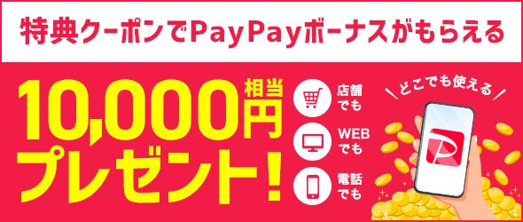 特典クーポンでPayPayボーナスがもらえる。10,000円相当プレゼント!