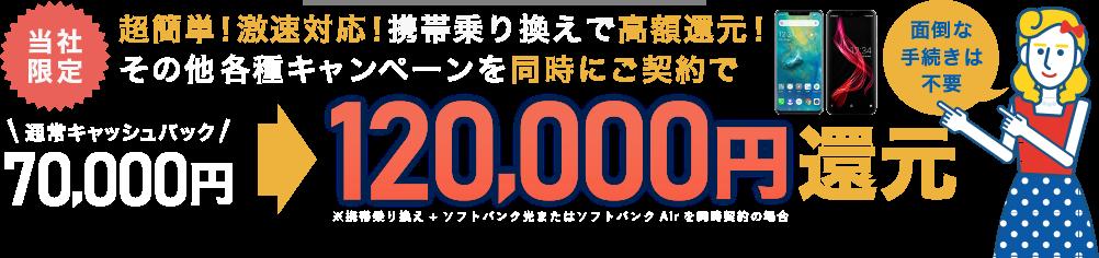 当社限定!超簡単!激速対応!携帯乗り換えで高額還元!その他各種キャンペーンを同時にご契約で最大120,000円キャッシュバック!!