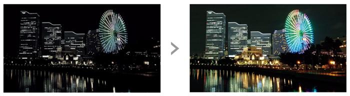 「ダイナミックコントラストエンハンサー」により花火や夜景などの動画を美しく残せます。