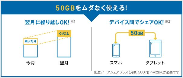 無駄なく使える50GB