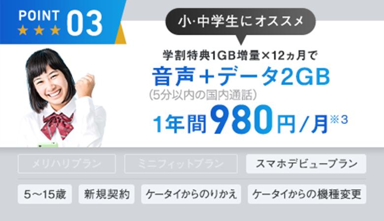 5分以内の国内通話し放題と2ギガ使えて1年間980円/月