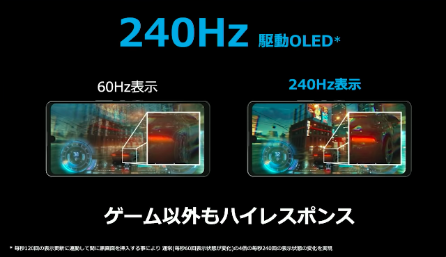 【ディスプレイ】鮮やかな色表現で映像を堪能。240Hz駆動で表示もなめらか
